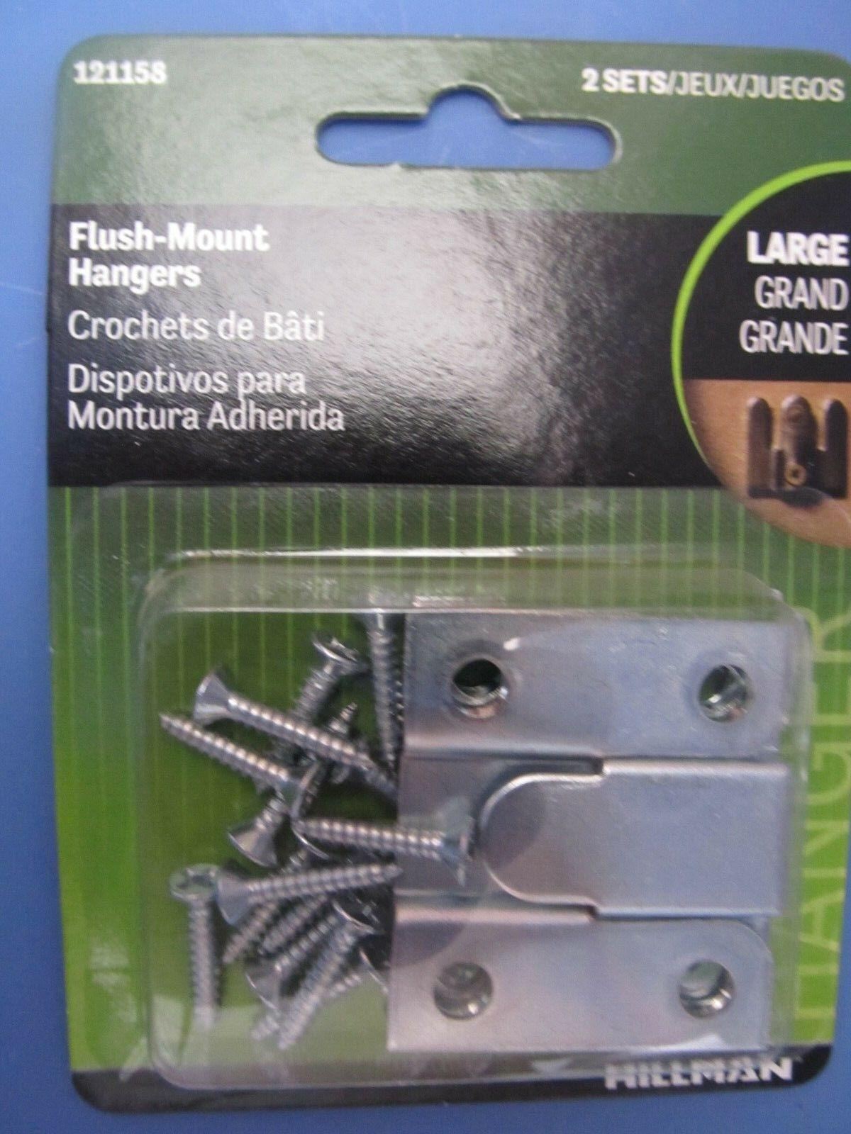 "Hillman Flush Mount Hangers 1.75/"" x 1.5/""  Package of 2 #121158    NEW"