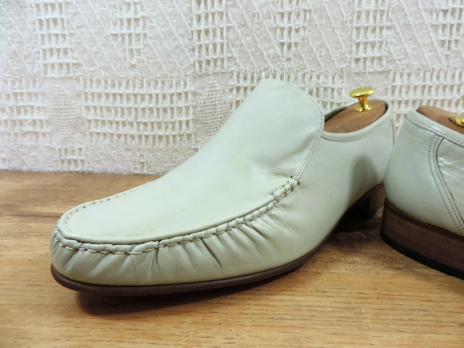 New Grenson Beige Cream Kid Penny Loafers moccasins US UK Made UK 12 US moccasins 13  E 46 FX 6d50d8