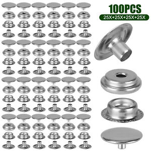 100PCS-Stainless-Steel-Snap-Fastener-Kit-for-Boat-Canvas-Screw-Press-Stud-Cover