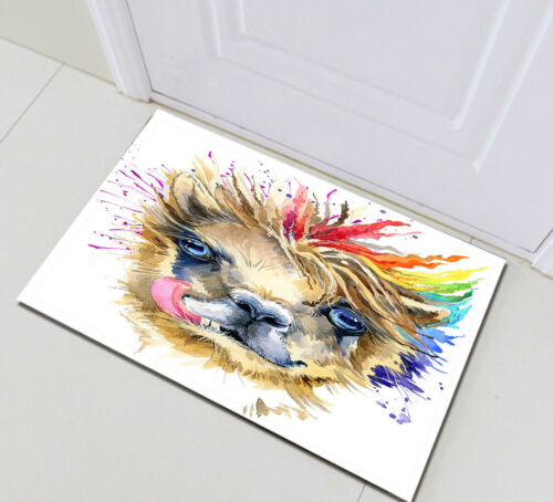 Watercolor Colorful llama Pattern Bathroom Polyester Fabric Shower Curtain Hooks