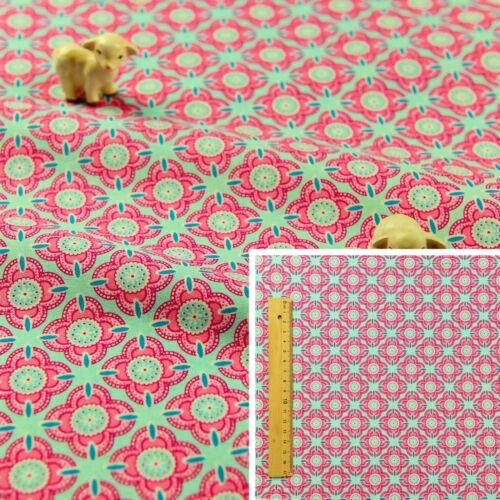 Retro Floral Cuarto Gordo Rosa Azul//Metro 100/% ALGODÓN TELA FQ Craft Edredón Coser