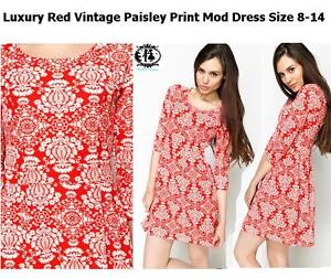 ac5c44a6ed4 LADIES RED PAISLEY SIZE 8-14 SHIFT DRESS 60 s MOD TWIGGY SKATER ...