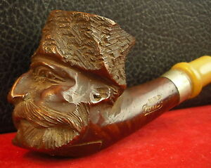 Pipe-Wooden-Carved-a-Head-Signed-Mbd-Paris-French-Pipe-Carved-Ca-1900