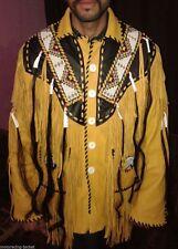 Western Fringed Buckskin Native American Indian Fringe Bones jacket XS To 6XL