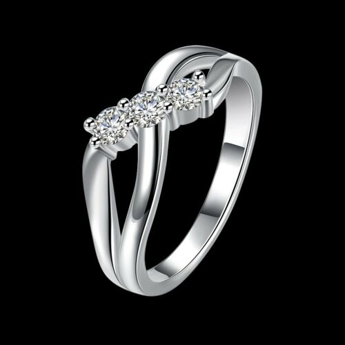 Fashion 925 Silver plated Jewelry Crystal Geometry Rings For Women R879