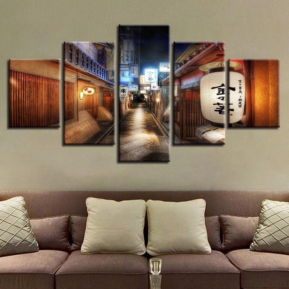 Japan Street Night 5 Panel Canvas Print Wall Art
