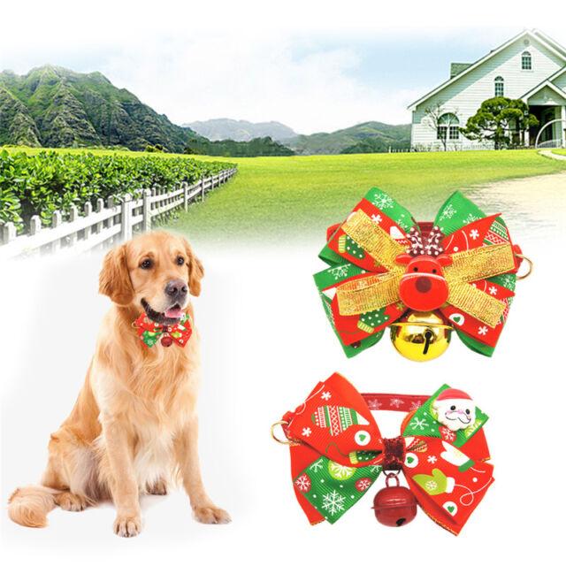 Adjustable Dog Cat Pet Necktie Collar Bell Christmas Bow Tie Xmas Design Collar