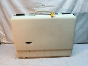 Vintage Sears Forecast Suitcase  White 20in Hard Case Luggage - Mid Century