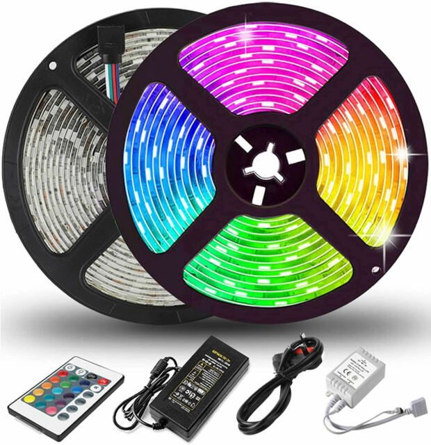 5M LED Strip Lights RGB Color 5050 Light With Remote UK Plug Waterproof Full Kit