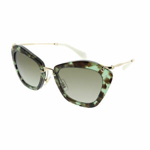 99fe0dc321fe Miu Miu Noir MU 10NS UAG4K1 Green Havana Cat-Eye Sunglasses Brown ...