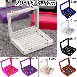 Jewelry-Ring-Display-Travel-Organizer-Box-Velvet-Wood-Tray-Hold-Earring-Storage
