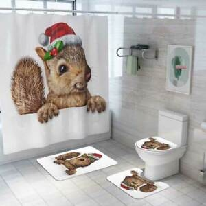 Christmas Animal Printing Bathroom Shower Curtain Toilet Waterproof Cover Mat