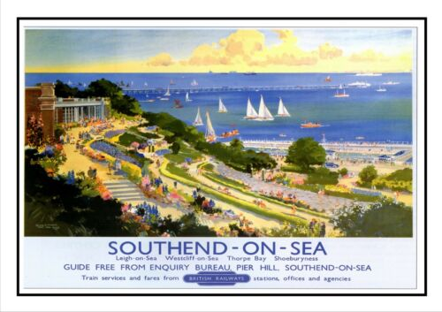 Southend On Sea Pier Railway Vintage Retro Old Advert Photo Reproduction Poster