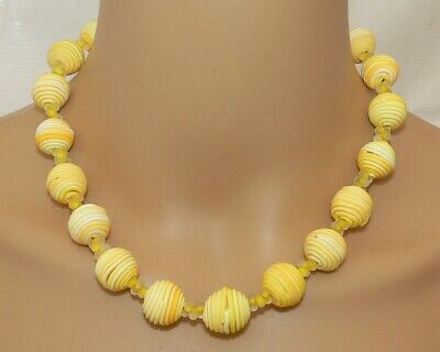 Kette Halskette Fimo Polymer Perle Spirale gelb Mais Safran weiß 380i