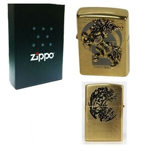 Zippo Unicorn Gold Lighter Made in USA /GENUINE and ORIGINAL Packing