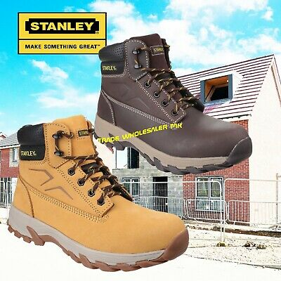 Stanley Mens Work Safety Boots Steel Toe Cap Nubuck Leather Rubber Size 9 New