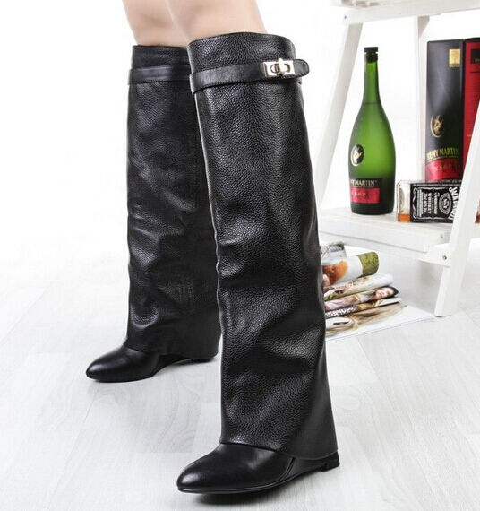 Womens Leather Knee High Boots Pointy Toes Winter Boots Wedges High Heels Shoes
