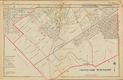 1906 CRANFORD TOWNSHIP NEW JERSEY UPSULA COLLEGE ATLAS MAP KENILWORTH UNION