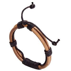 Men-039-s-Punk-Adjustable-Multilayer-Leather-Wrap-Cuff-Bracelet-Wristband-Tribal