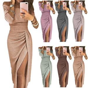 Women Off Shoulder Bodycon Long Dress Split Skirt Evening Party Bling Dress