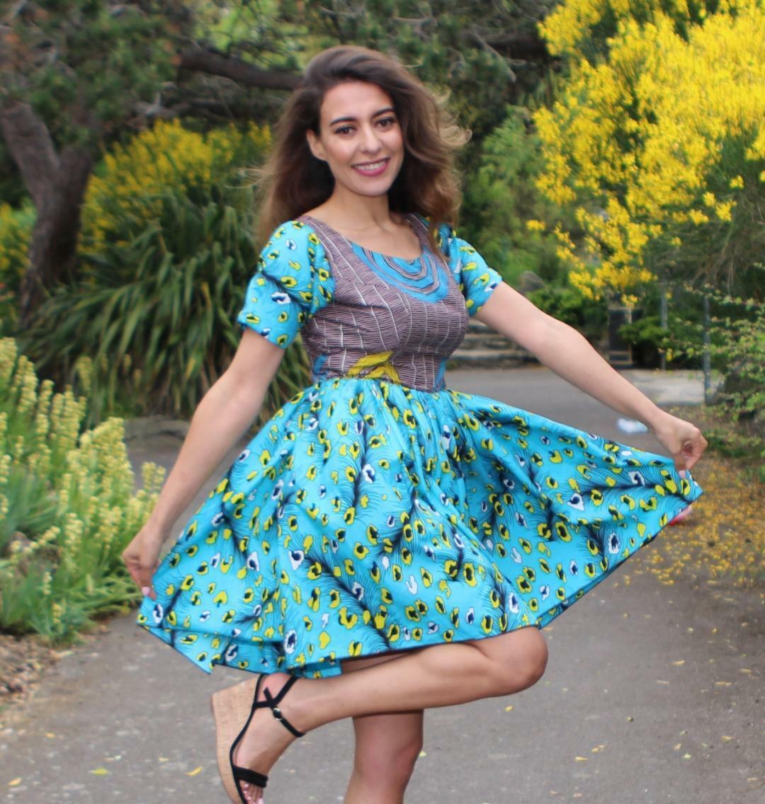 BLUE BELLA African Print SKATER Dress / Women Ankara Wear, African Dress /Africa