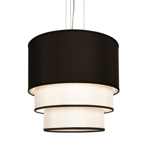 New 4 Lamp Texture Drum Cylinder Shade Three Layer Pendant Lighting Black White