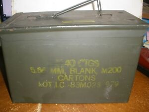 Details about Vintage Military Metal Ammo Box 1140 CTGS 5 56MM Blank M200
