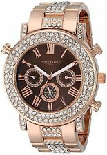 NEW Vernier Paris VNRP11184RG Women's Crystal Bezel Bronze Dial Rose Gold Watch