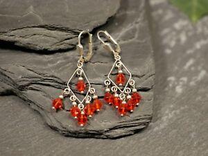 925-Silber-Ohrringe-Filigran-Zart-Leicht-Rote-Kristallform-Kunststoff-Bezaubernd