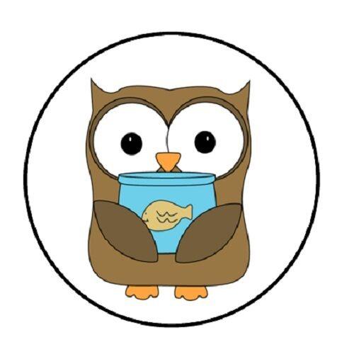 48 owl fish bowl envelope seals labels stickers 1 2 round