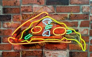 "New Pizza Slice Neon Sign Acrylic Gift Light Lamp Bar Wall Room Decor 20/""x12/"""