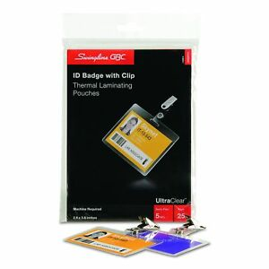 Swingline-GBC-UltraClear-Thermal-Laminating-Pouches-Badge-ID-Card-Size-With