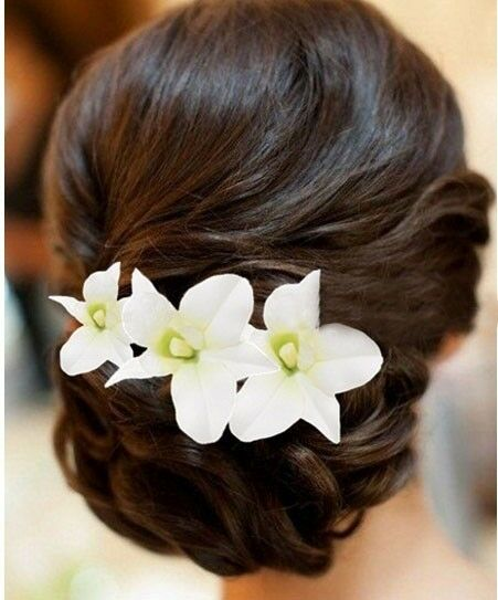 6P WEDDING BRIDAL ORCHID FLOWER CLIP PIN PARTY PROM