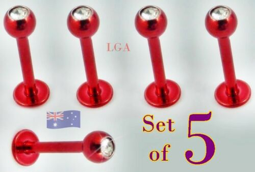 10 x Black Int thread Monroe Clear// Red gem tops Body Piercing Stud FREE POST C