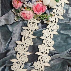 """1y VTG 1"""" ECRU SCHIFFLI LACE FRENCH COTON WEDDING DOLL DRESS RIBBON TRIM VENISE"""