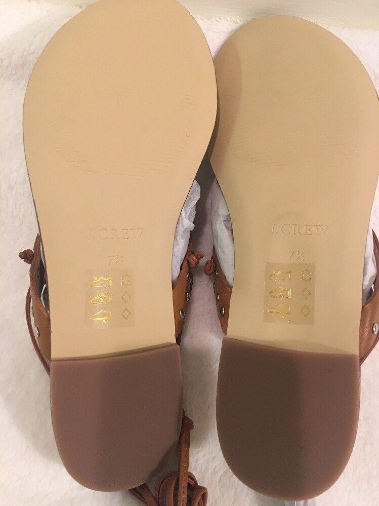 NWB JCREW studded Ankle-tie thong Sandales in studded JCREW Leder Sz7.5 J0156 Burnished Pecan 9488b5