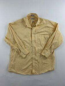 IZOD-Men-039-s-Yellow-Cotton-80-039-s-2-Ply-Pinpoint-Dress-Shirt-Size-17-32-33