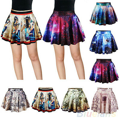 WOMEN'S CLASSY HIGH WAIST PLEATED GALAXY MURAL SHORT MINI SKIRT FLARED DRESS