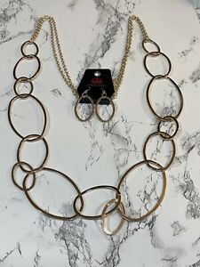 Paparazzi Rose Gold Circle Statement Necklace With Earrings New Ebay