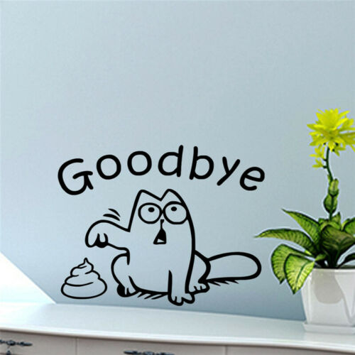Funny Black Cat Say Good Bye Home Toilet Seat Wall Sticker Wall Stencils Decals
