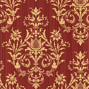 Image Is Loading CS27362 Classic Silks 3 Damask Red Gold Galerie