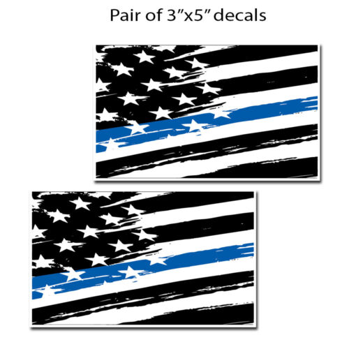 Support Blue Lives WHITE Blue Line American Flag Police Decal Sticker Set