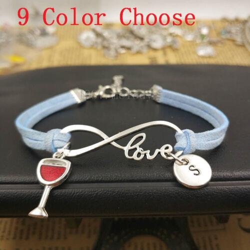Personnalisé Argent Vin Rouge Bracelet Pendentif Infinity Love Bracelet simili cuir
