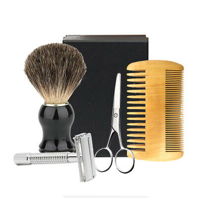 Men Shaving Brush Set Safety Razor Mustache Scissor Wood Beard Comb Gift Box Kit