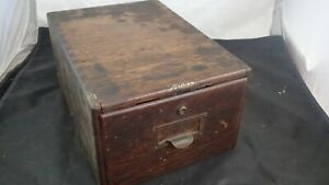 ANTIQUE-MACEY-OAK-WOOD-LIBRARY-FILE-INDEX-CARD-CABINET-BOX-SINGLE-DRAWER-5x8