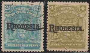 OL41-RHODESIA-1902-OVERPRINTED-ON-BRITISH-SOUTH-AFRICA-COMPANY-2-5d-amp-4d-USED