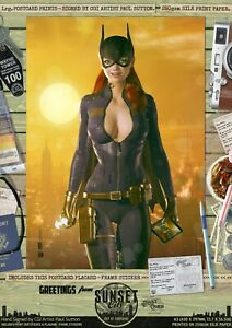 Batgirl-of-Burnside-Gotham-Sexy-039-Sunset-City-039-Comic-A3-Signed-Print-DC-Batman-52