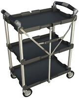 Folding Service Cart Mobile Portable Trolley Collapsible Wheeled Tray