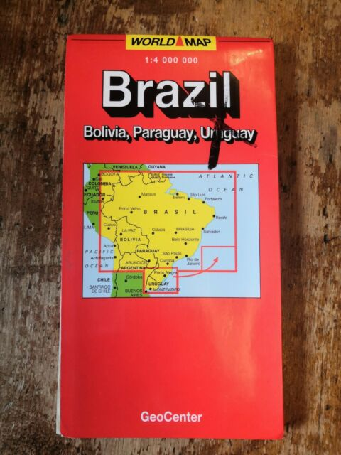OS Ordnance Survey GeoCenter World Map 1994 ? Brazil Bolivia Paraguay 1:4000000