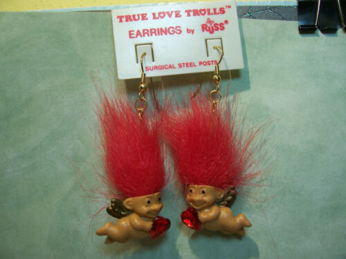 "VALENTINE CUPID EARRINGS 2/"" Russ Troll Dolls NEW IN PACKAGE"